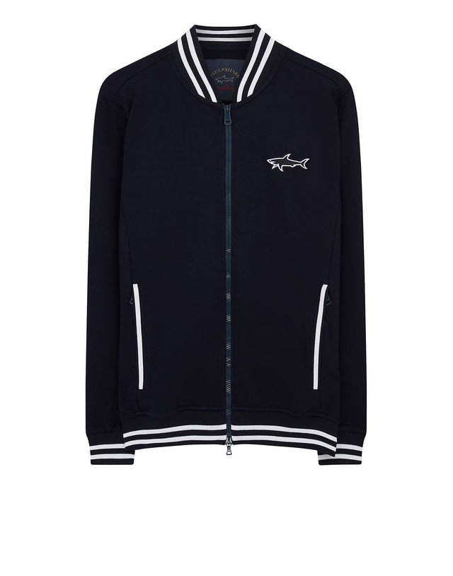 Shark Patch Sweat Bomber in Navy