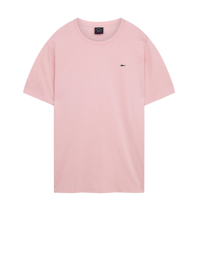 Shark Embroidered Crew T-Shirt in Pink