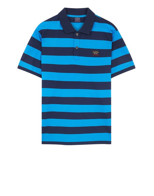 Stripe Polo With Chest Patch in Light Blue
