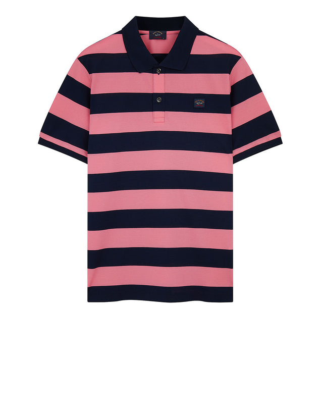 fe803cf75 Stripe Polo With Chest Patch in Pink/Navy