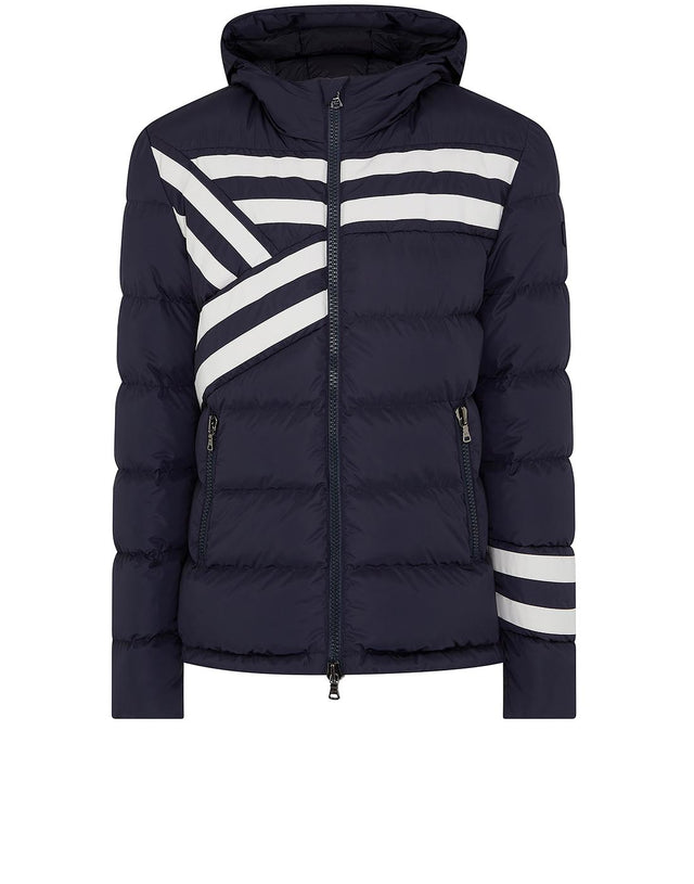 Striped Hooded Jacket in Blue