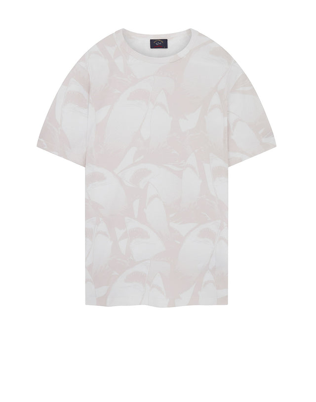 Tonal Shark Print T-Shirt in White