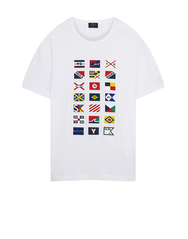 Yachting Flag Print Crew T-Shirt in White