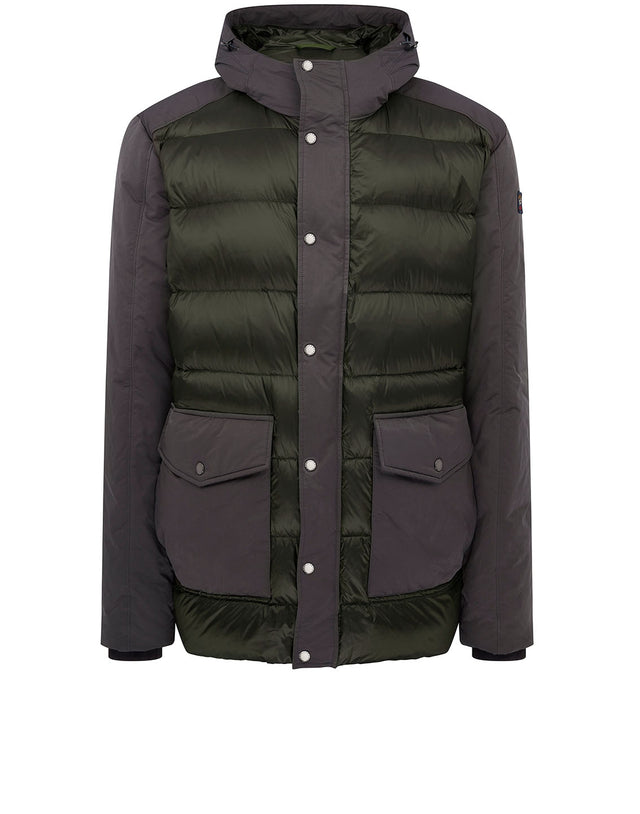 Panelled Padded Blouson in Olive Grey