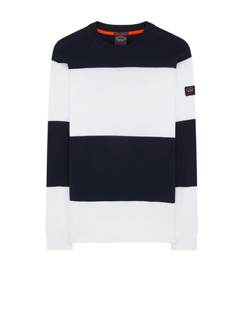 Cool Touch Sleeve Patch Striped Sweater in White
