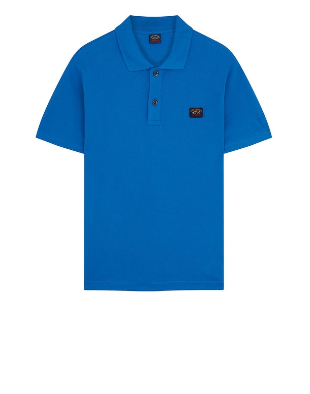 Cotton Polo Shirt With Chest Patch in Cobalt Blue