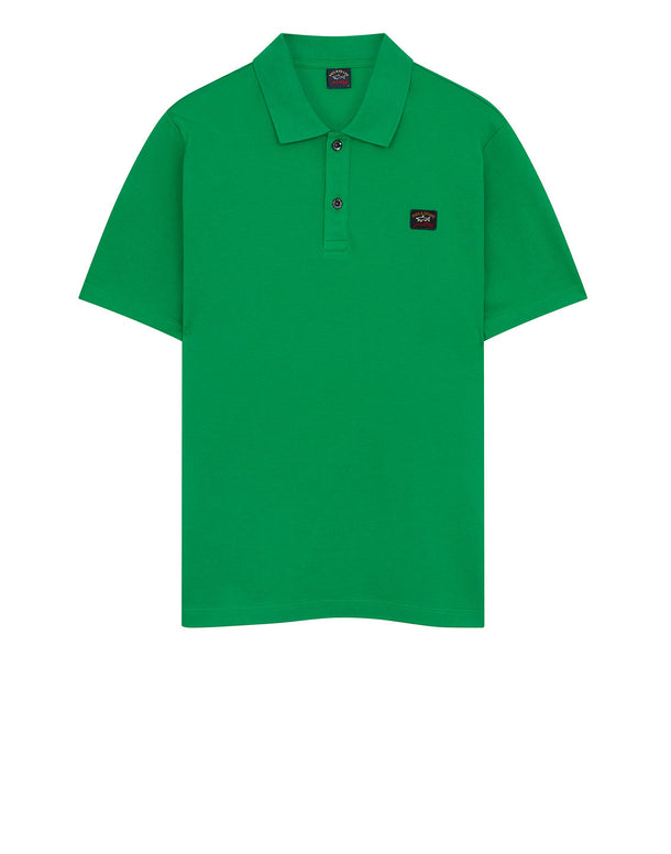 Cotton Polo Shirt With Chest Patch in Green