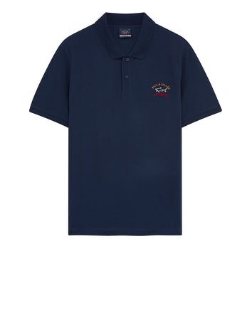 Embroidered Cotton Polo Shirt in Navy Blue