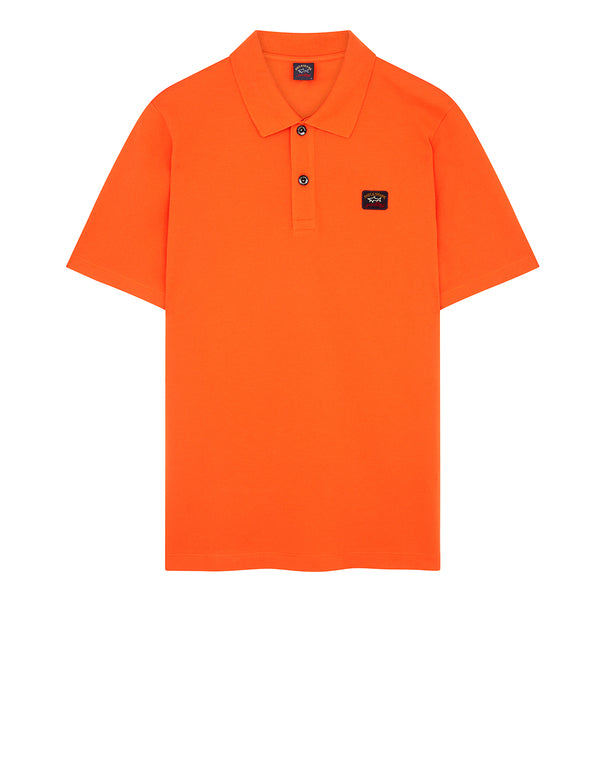 Cotton Polo Shirt With Chest Patch in Orange