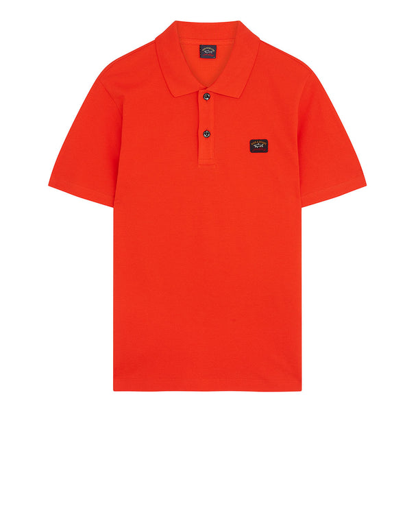 Cotton Polo Shirt With Chest Patch in Fire Orange