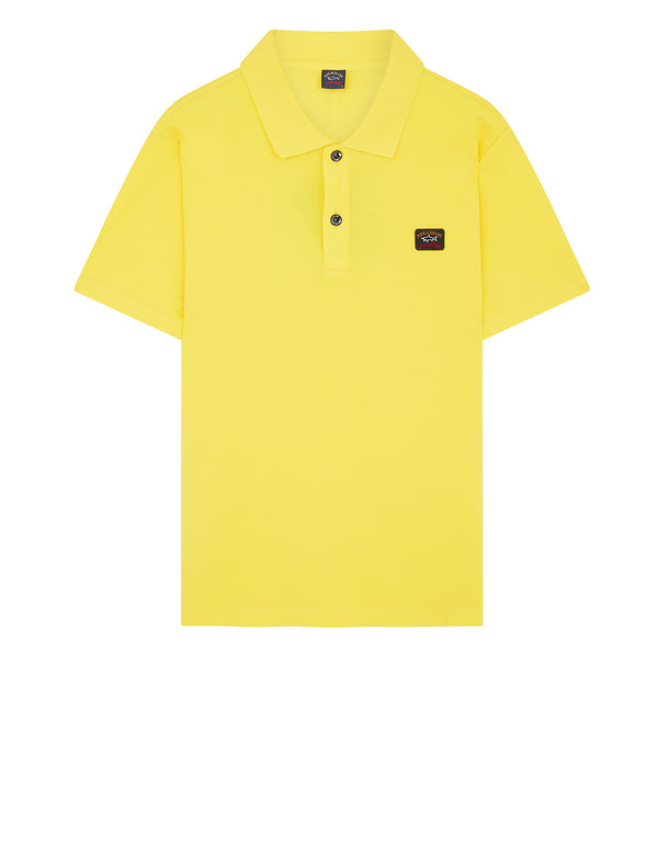 Cotton Polo Shirt With Chest Patch in Yellow