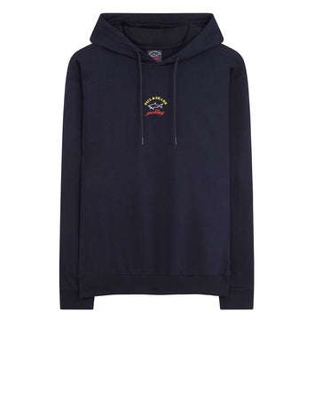 Classic Yachting Logo Pullover Hoodie in Navy