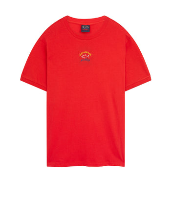Small Yachting Logo Crew T-Shirt in Red