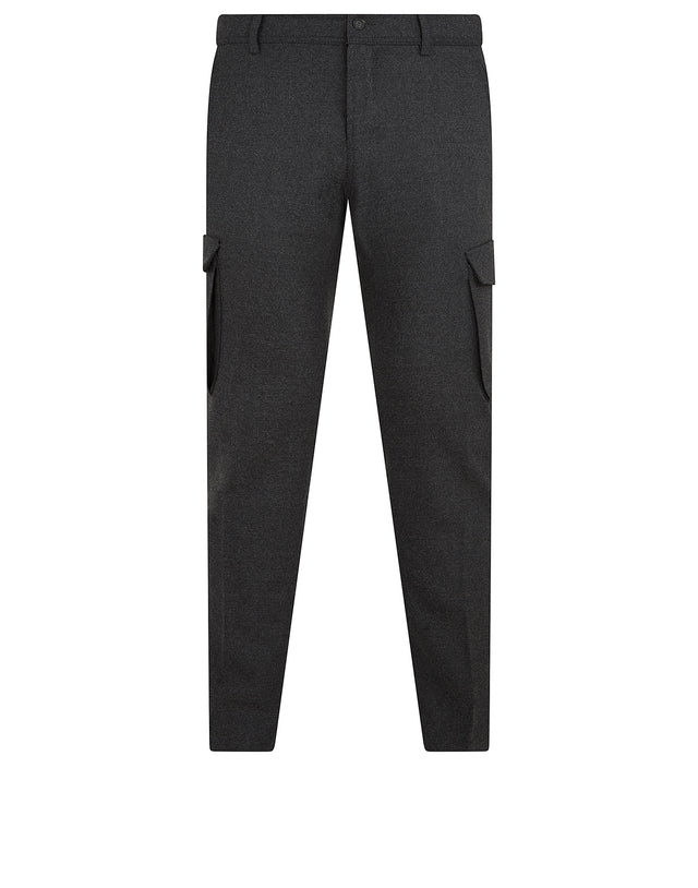 Wool Cargo Trousers in Charcoal