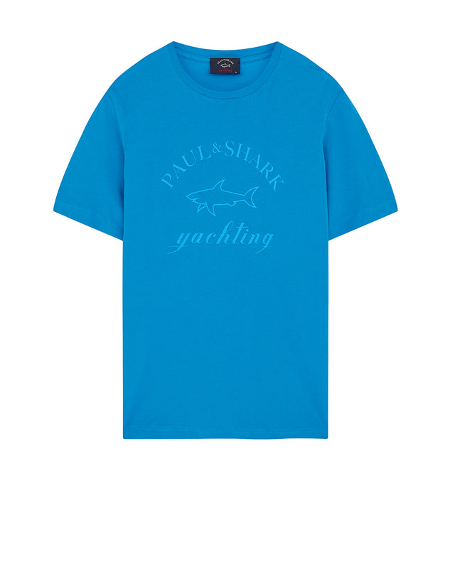 Crewneck Yachting Logo T-Shirt in Bright Blue