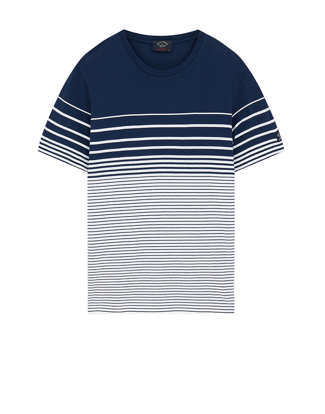 Gradient Stripe Crew T-Shirt in Navy/White