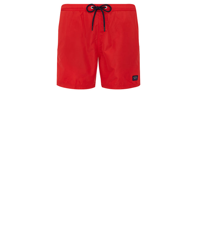 Logo Patch Swim Shorts in Red