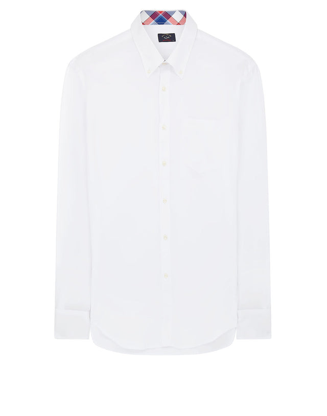 Shark Embroidered Button-Down Shirt in White
