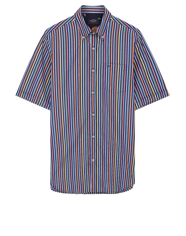Shark Embroidered Multi Stripe Short Sleeve Shirt in Blue