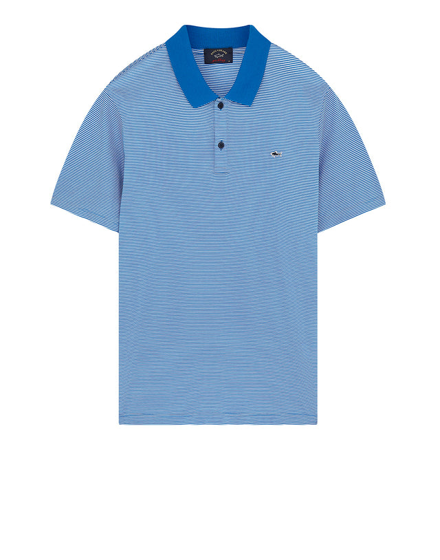 Shark Embroidered Stripe Polo Shirt in Blue/White
