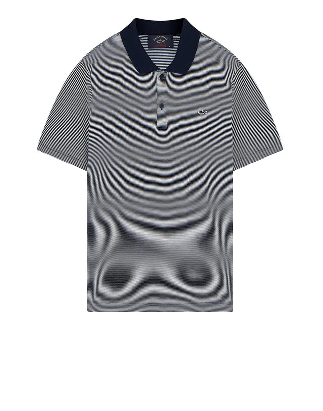 Shark Embroidered Stripe Polo Shirt in Blue