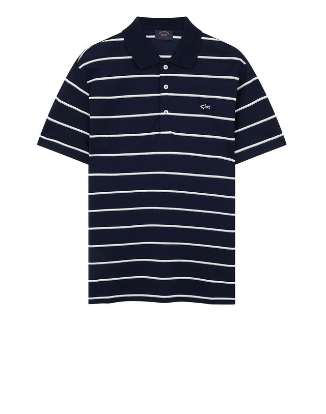 Shark Embroidered Stripe Polo Shirt in Navy