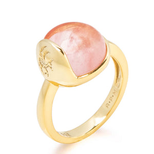 'TRO' Ring forgyldt - Cherry Kvarts - A PURE MIND