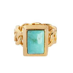 STYRKE Ring forgyldt - Turquoise - A PURE MIND