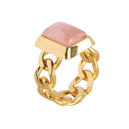 STYRKE Ring forgyldt - Rosa Kvarts - A PURE MIND