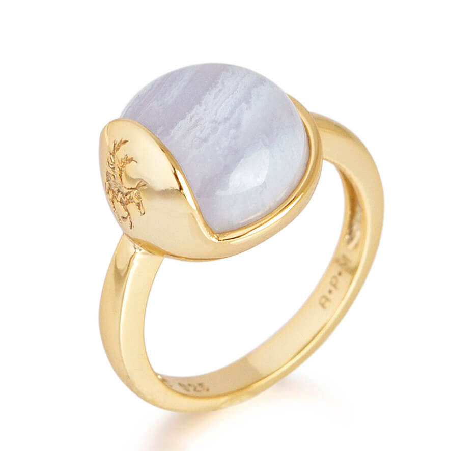 'TRO' Ring forgyldt - Blonde Agat