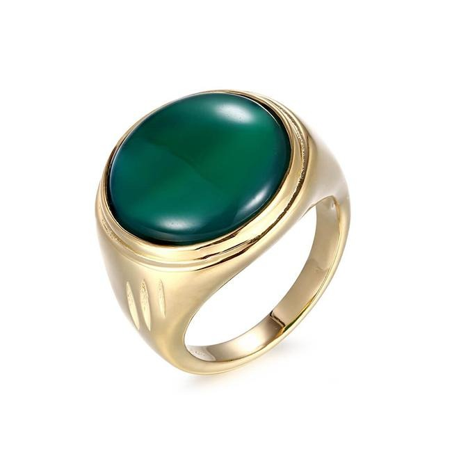 LYKKE Ring forgyldt - Grøn Jade - A PURE MIND