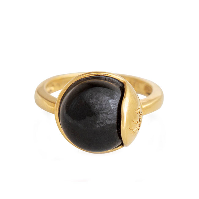 TRO Ring forgyldt - Black Obsidian