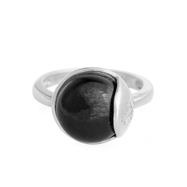 TRO Ring sølv - Black Obsidian