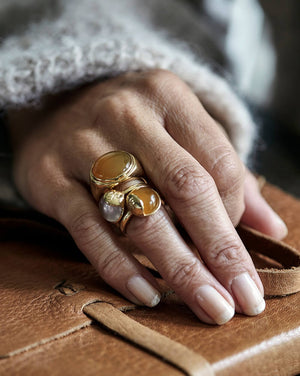 'TRO' Ring forgyldt - Rosa Kvarts - A PURE MIND