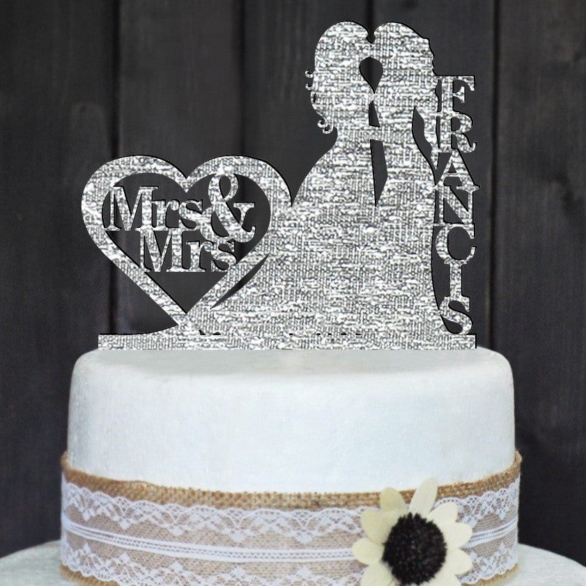 Lesbian 'Mrs & Mrs' Personalized Wedding Cake Topper