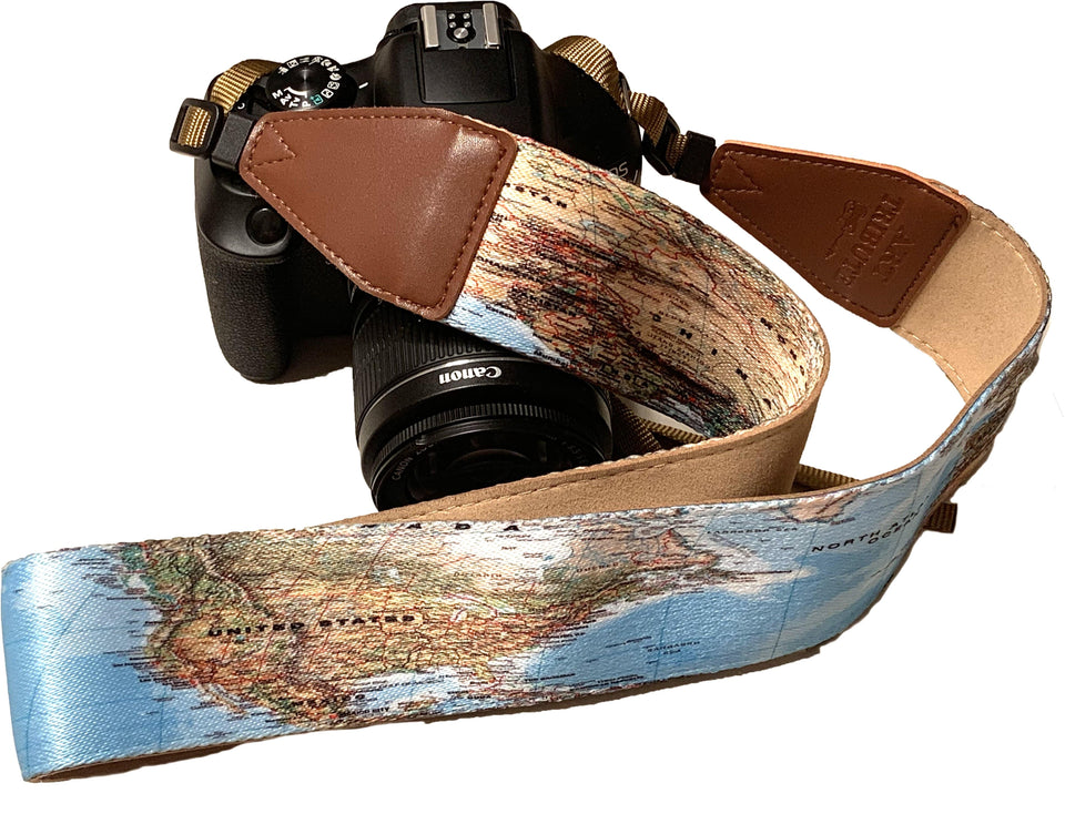 World Map Camera Strap