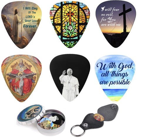 Christian Guitar Picks Set Bible Inspired Prints & Meaningful Messages Best Gift for Guitar Player - Art Tributes