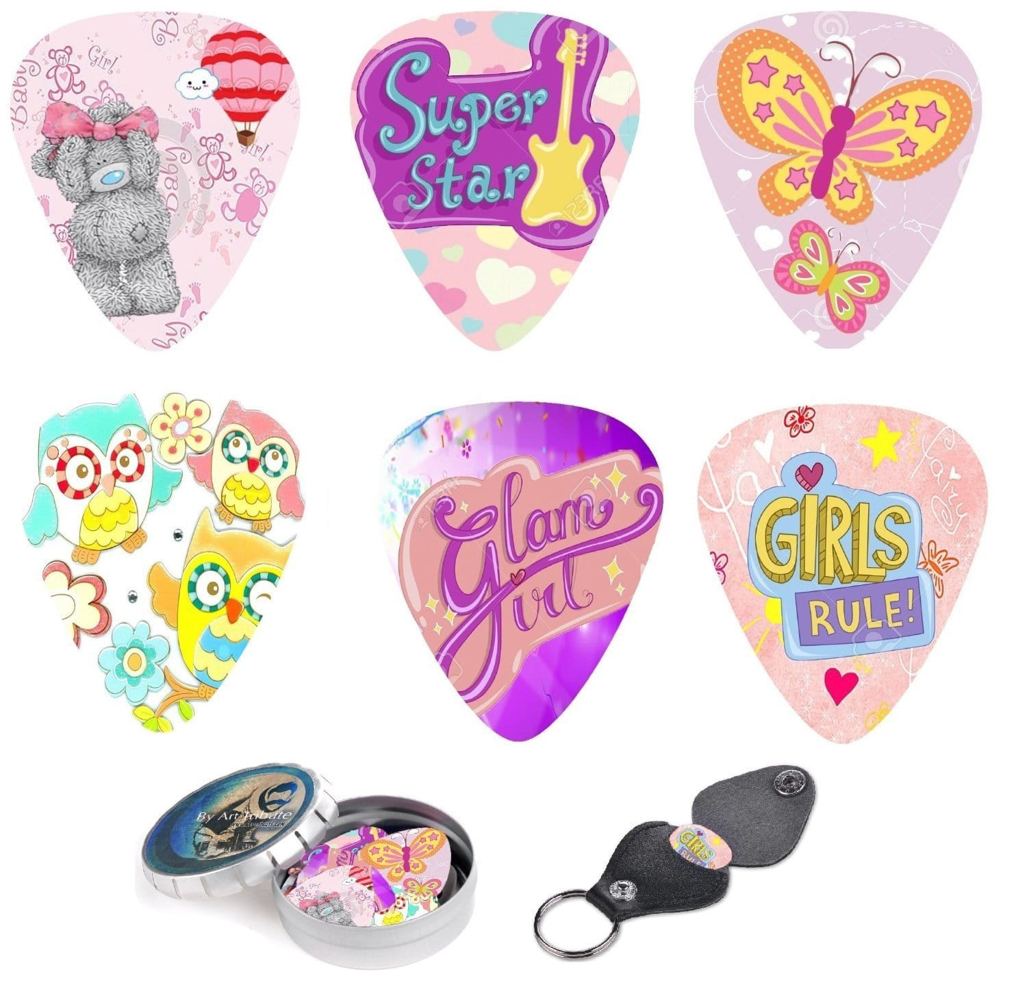 Girls & Ladies Guitar Picks - 12 Pack - Art Tributes
