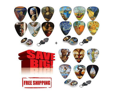 Guitar Picks - Art guitar picks - 36 Celluloid Picks + Keychain Pick Holder | Best Guitar Art Gift - Art Tribute
