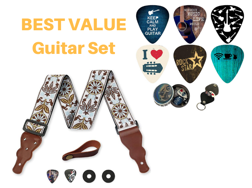 Cool Gift Guitar Set - Vintage Woven Guitar Strap + 12 Unique Guitar Picks - Art Tributes