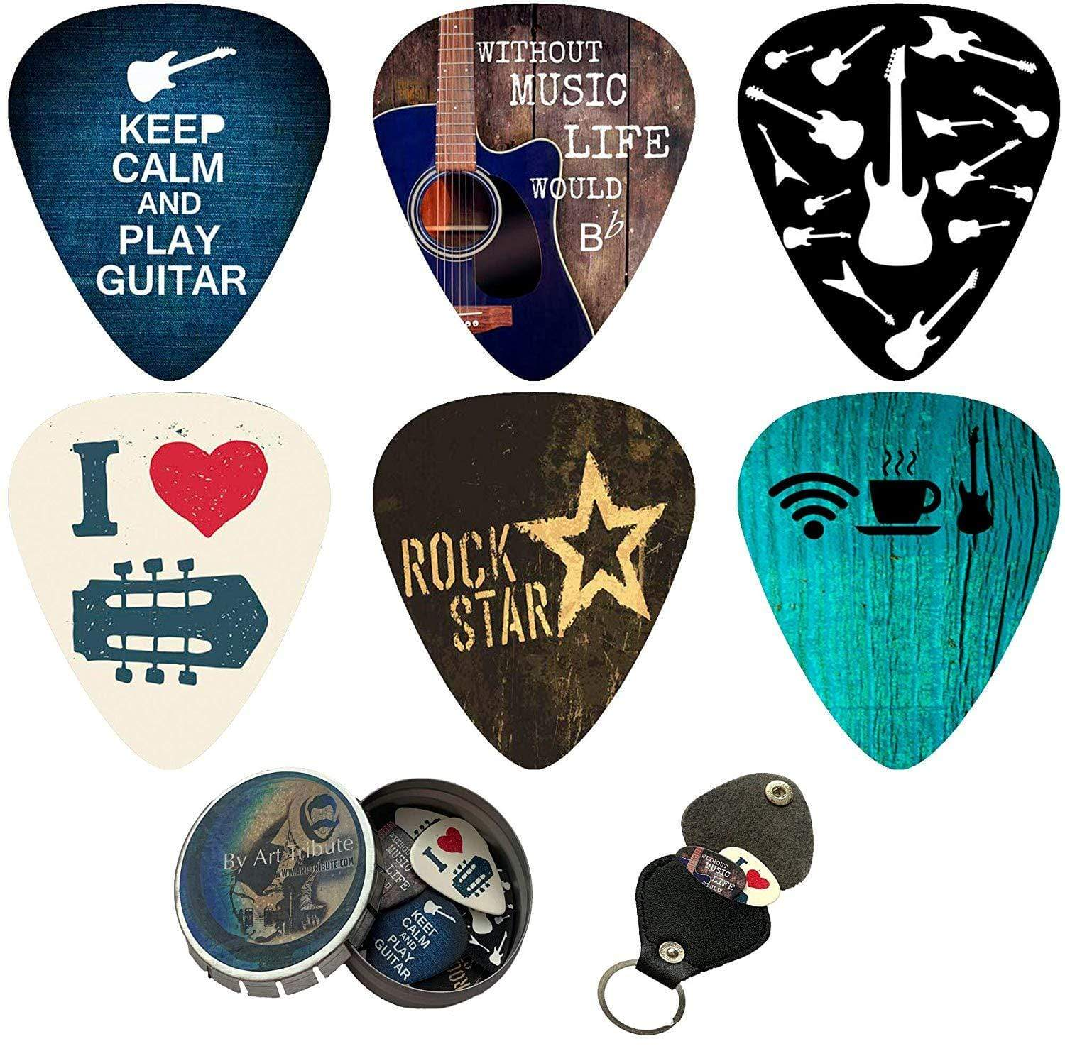 Cool Guitar Picks set - 12 Pack - Art Tributes