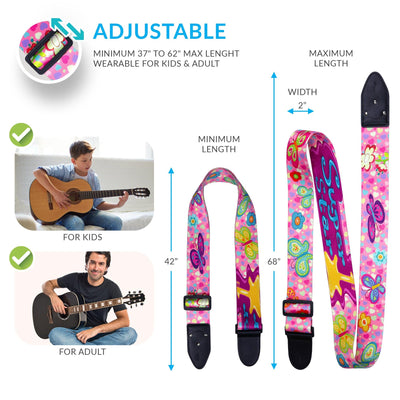 Girly Guitar Strap - Pink Guitar Strap for Kids - Art Tribute