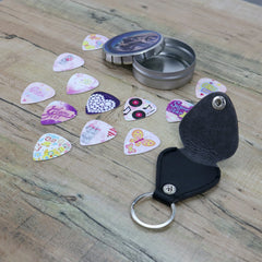Unique Girls & Ladies Guitar Picks Funk Pink & Purple design - Art Tribute