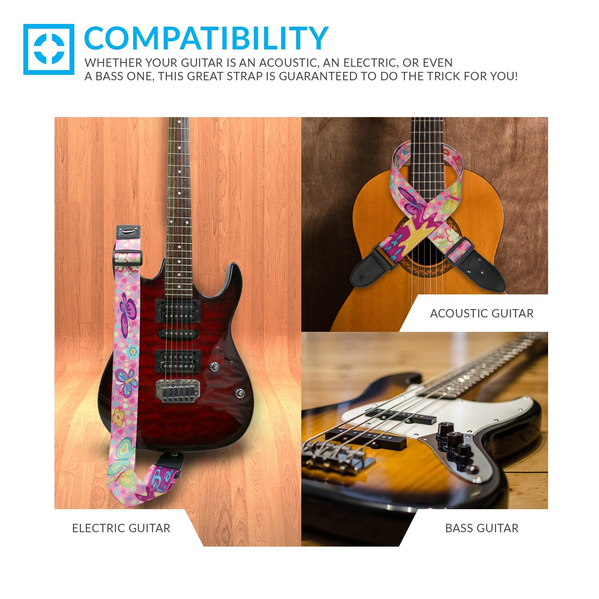 Lifetime Warranty Adjustable Polyester For Electric /& Acoustic First Act Discovery /& Guitar Lovers Pink Guitar Strap For Kids /& Girls Bundle Includes 2 Strap Locks /& 2 Matching Picks