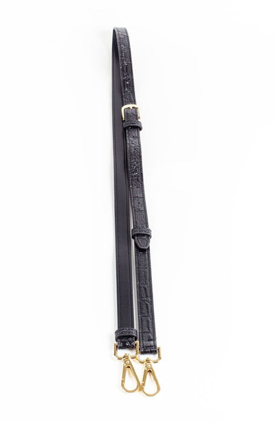 Black Crocodile Leather Fashion Bag Strap