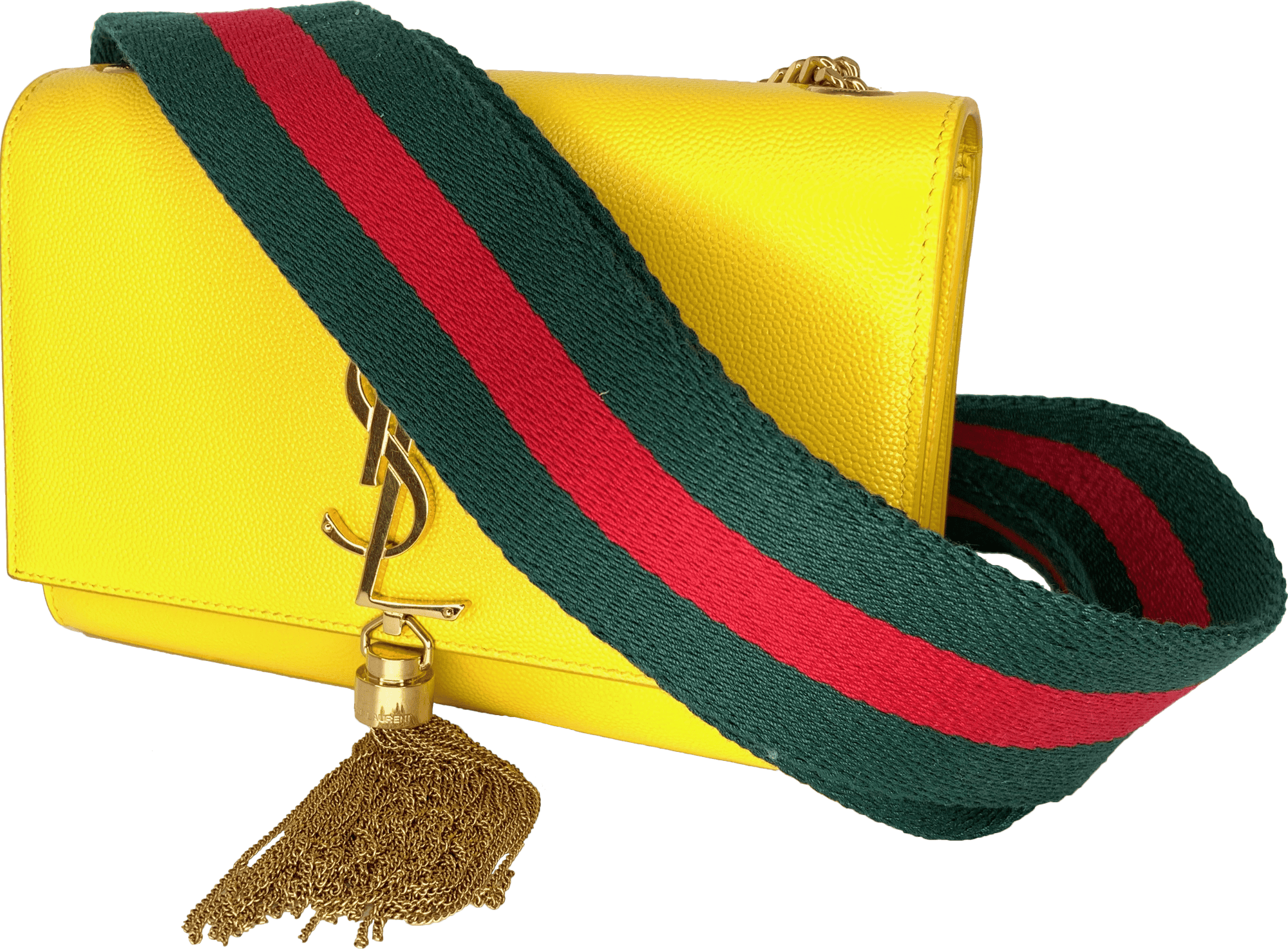 Gucci Style Red Green Handbag Strap - Gold Hardware - Art Tributes