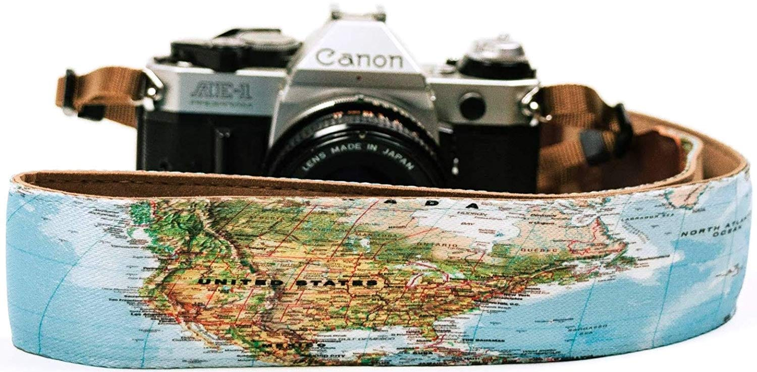 World Map Camera Strap - Art Tributes