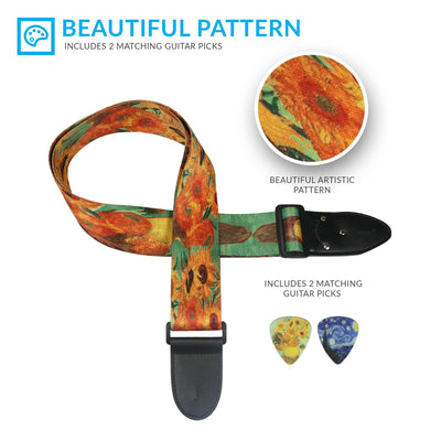 2 Van Gogh Guitar Strap Set - Starry Night & Sunflowers