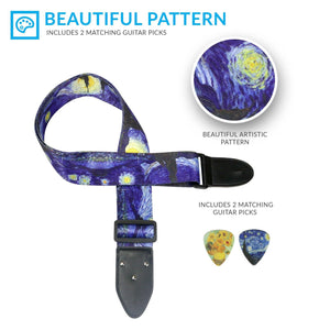 """Starry Night"" Guitar Strap by Vincent Van Gogh - Art Tribute"