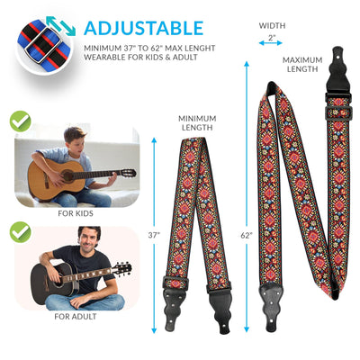 Red Vintage Woven Guitar Strap - Art Tribute